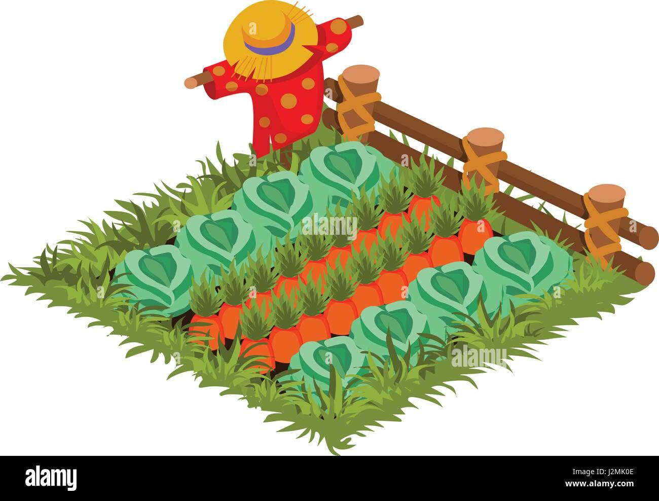 isometric cartoon vegetable garden bed with scarecrow