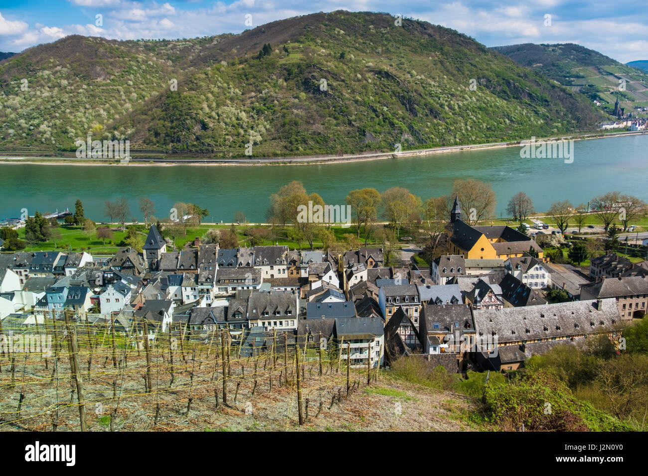 bacharach am rhein in the mainz bingen district in stock photo royalty free image 139374004. Black Bedroom Furniture Sets. Home Design Ideas