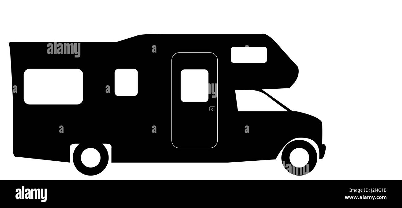 A Retro Rv Camper Van Silhouette Isolated On White Background