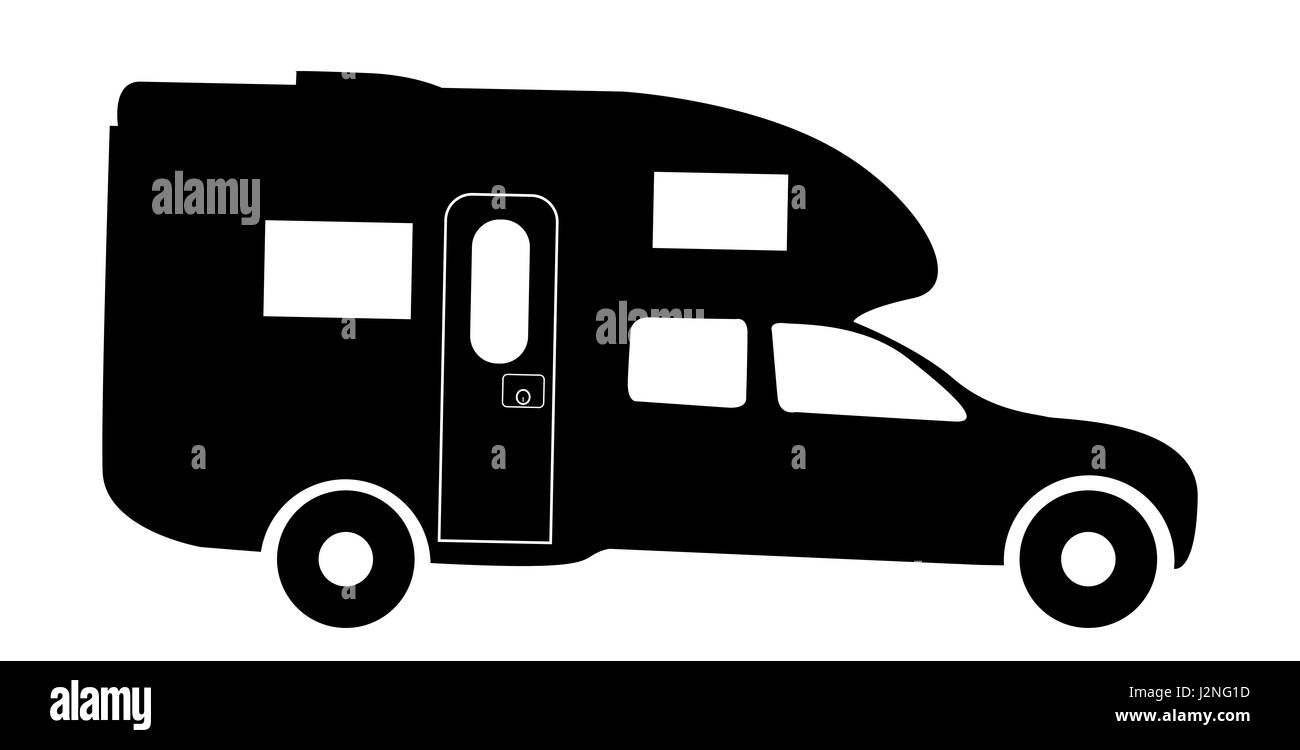 A Truck Rv Camper Van Silhouette Isolated On White Background