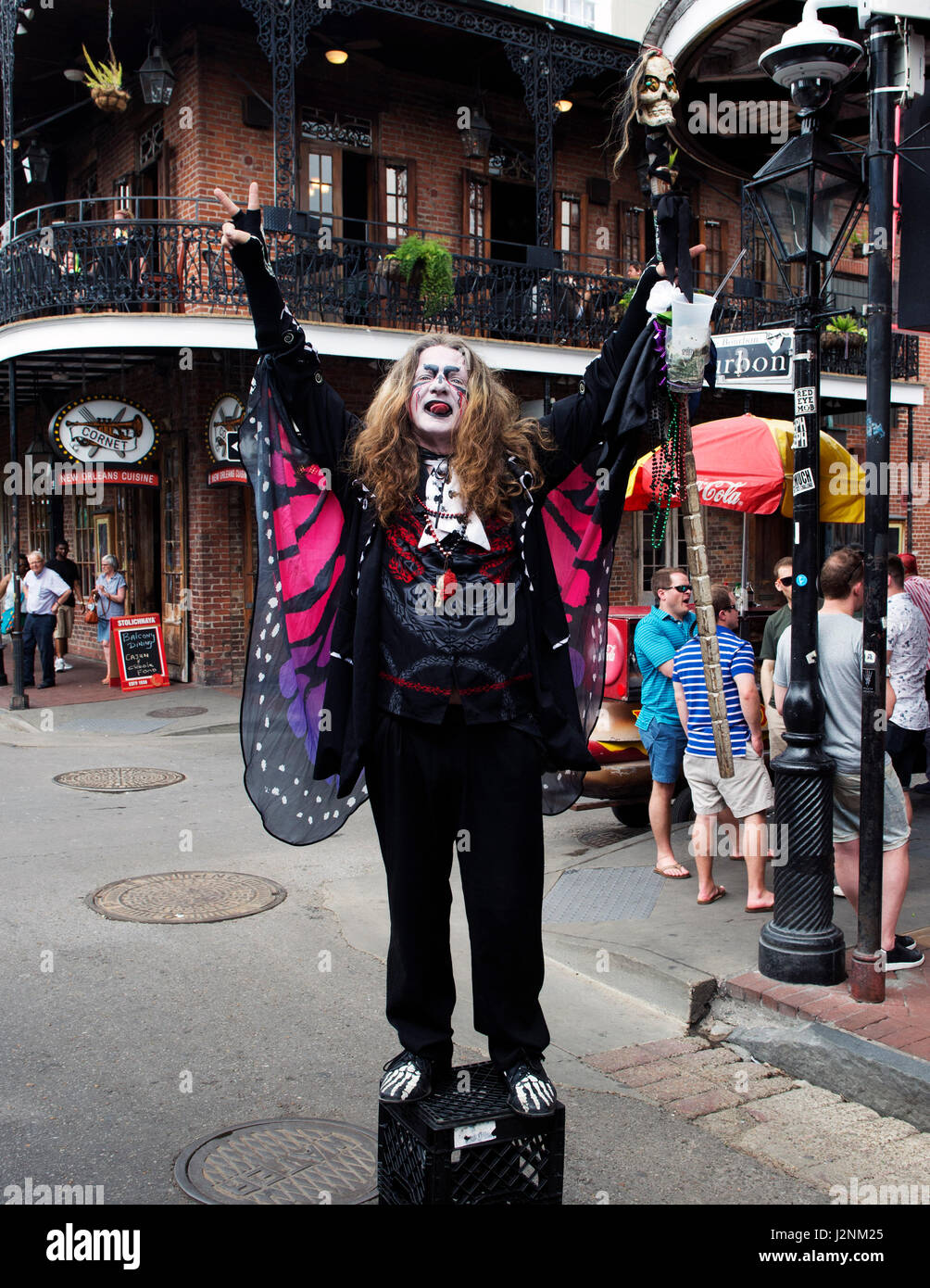 April 29, 2017:A Voodo WitchDoctor poses on Bourbon Street in New ...