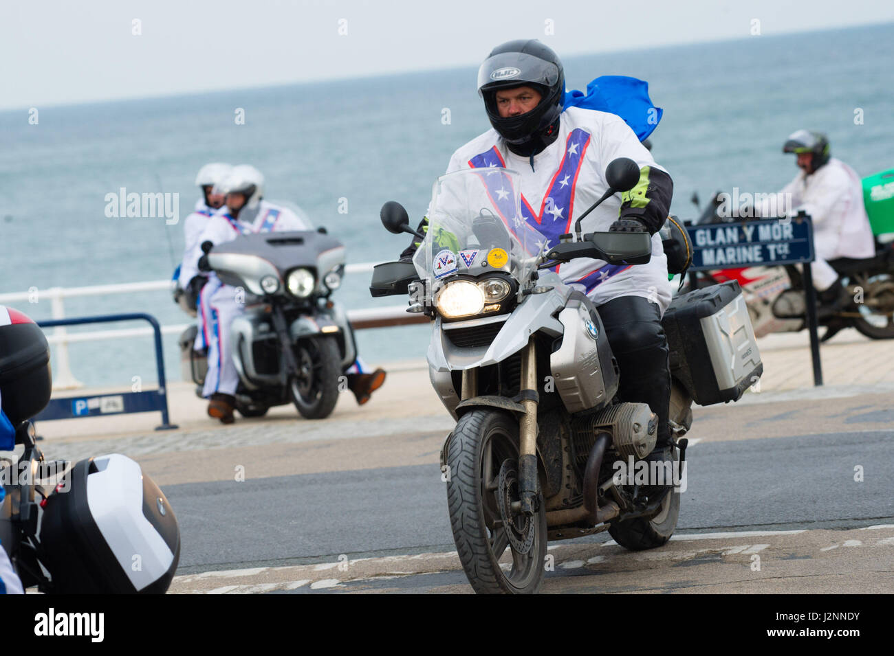Aberystwyth Wales Uk Sunday 30 April 2017 Motor Bikers From The Stock Photo Royalty Free Image
