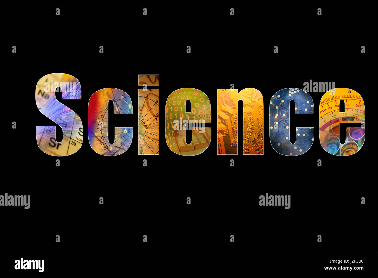 Word science formed by colorful science background themes ...