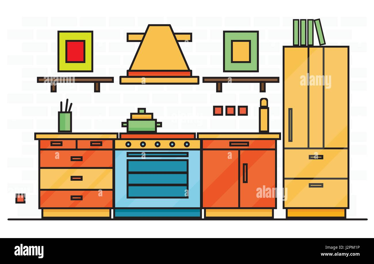 Cartoon kitchen with cabinets and window vector art illustration - Kitchen Interior With Table Stove And Fridge Vector Illustration