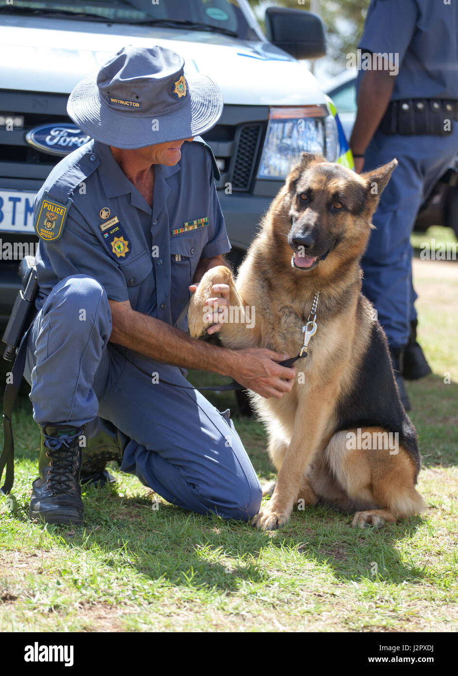 Johannesburg south africa april 2017 south african police force police man and k9 german
