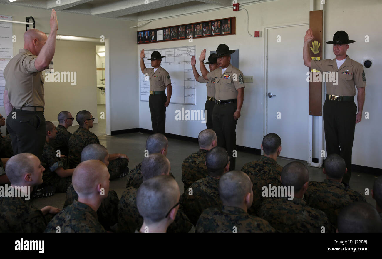 drill instructors with hotel company  2nd recruit training