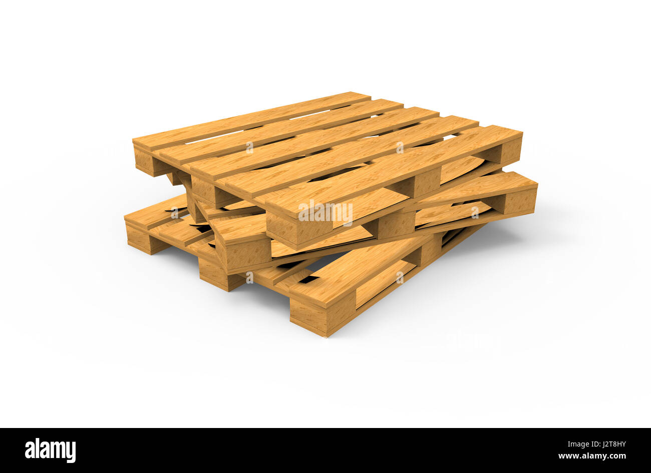wooden pallets background. 3d wooden pallets isolated on white background :
