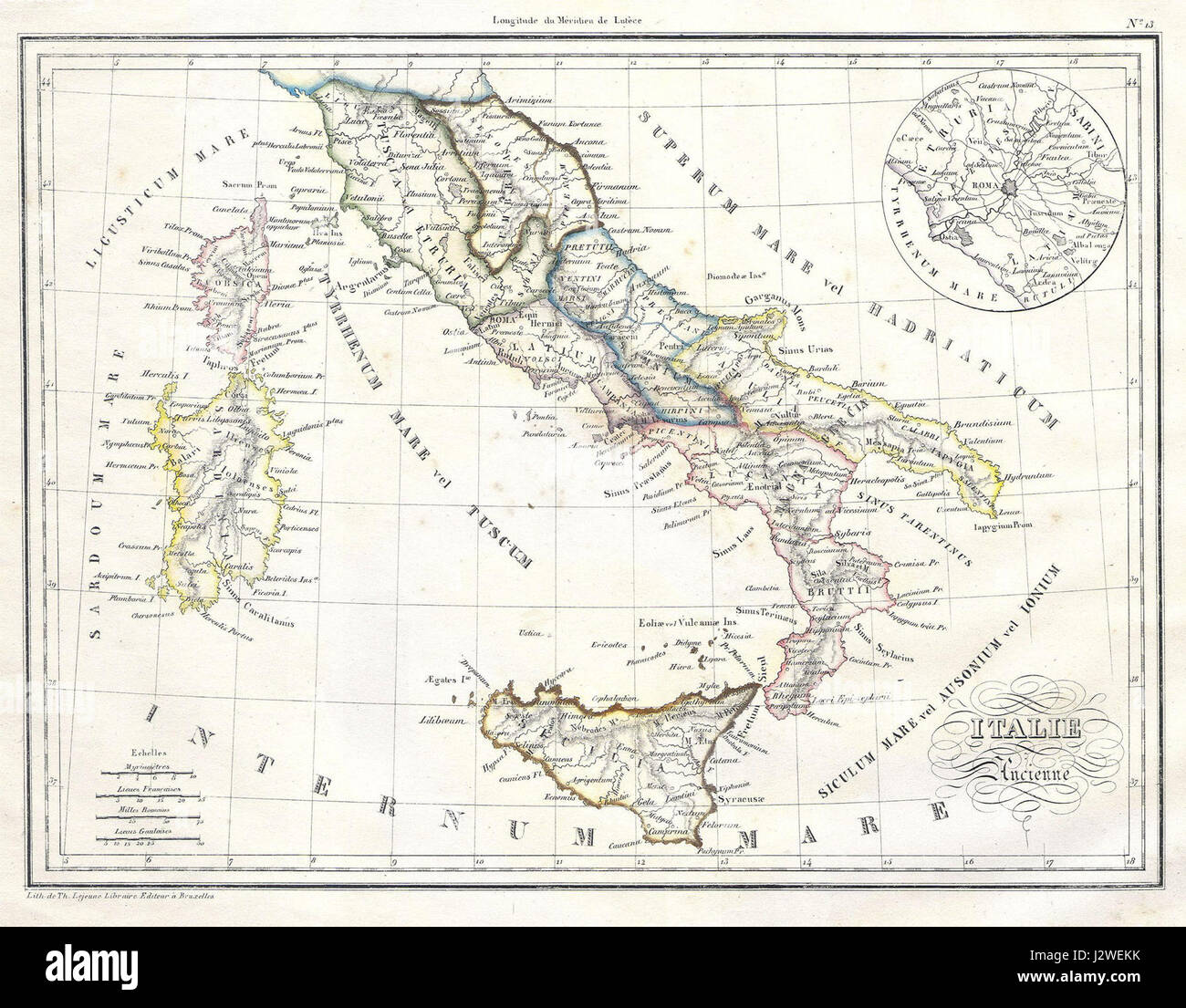 1837 malte brun map of italy in ancient roman times geographicus