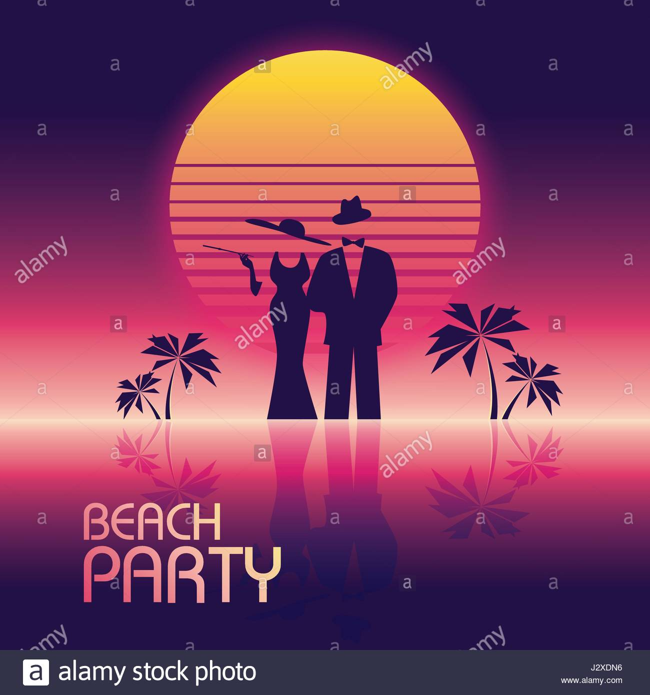 70s poster design template - Stock Vector Summer Beach Party Vector Banner Or Flyer Template 80s Retro Neon Glow Style Elegant Stylish Man In Suit Woman In Dress