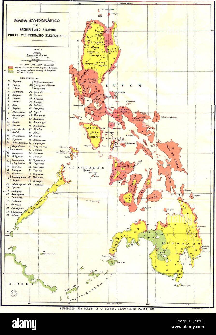 Blumentritt  Ethnographic map of the Philippines 1890 Stock