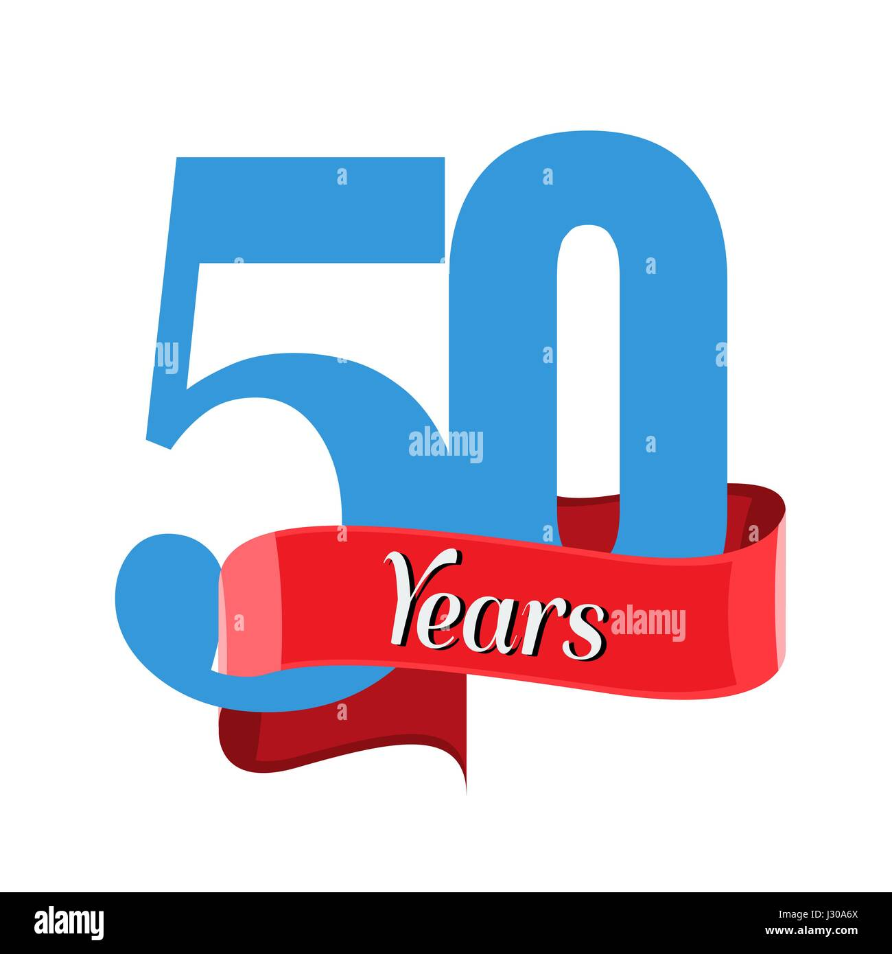 50 year anniversary logo with red ribbon flat style vector stock 50 year anniversary logo with red ribbon flat style vector illustration buycottarizona Choice Image