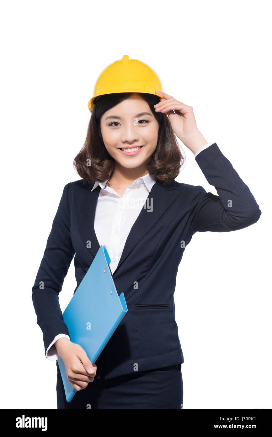 Architect Student portrait of young architect student woman wearing helmet stock