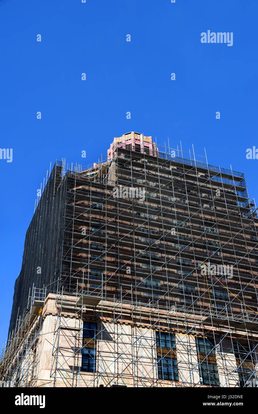 Art deco style architecture - Extensive Restoration Progresses On The Art Deco Style Architecture Of The Asheville City Hall In North Carolina Scaffolding Engulfs Much Of The Bui