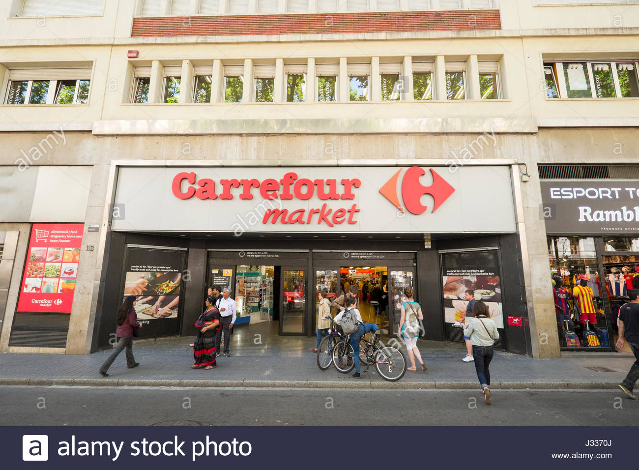 entrance to carrefour supermarket la rambla ciutat vella stock photo royalty free image. Black Bedroom Furniture Sets. Home Design Ideas