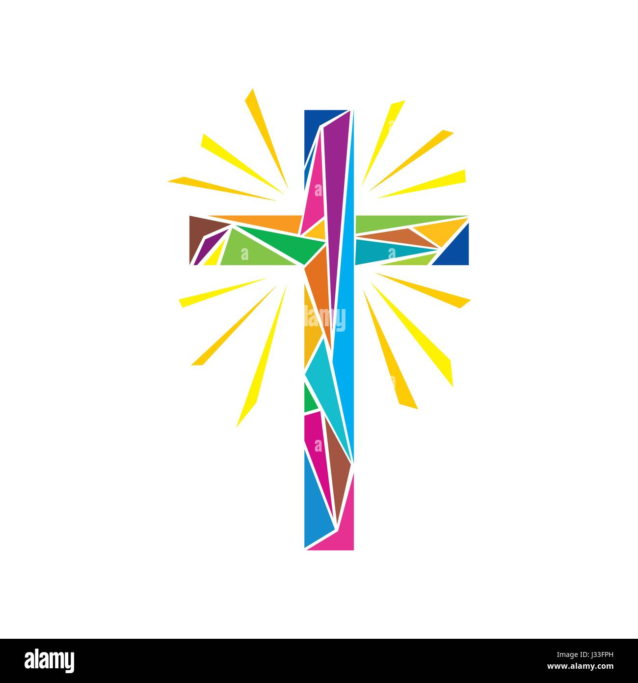 Church logo christian symbols the cross of jesus christ made up of church logo christian symbols the cross of jesus christ made up of multi colored elements shine rays buycottarizona Image collections