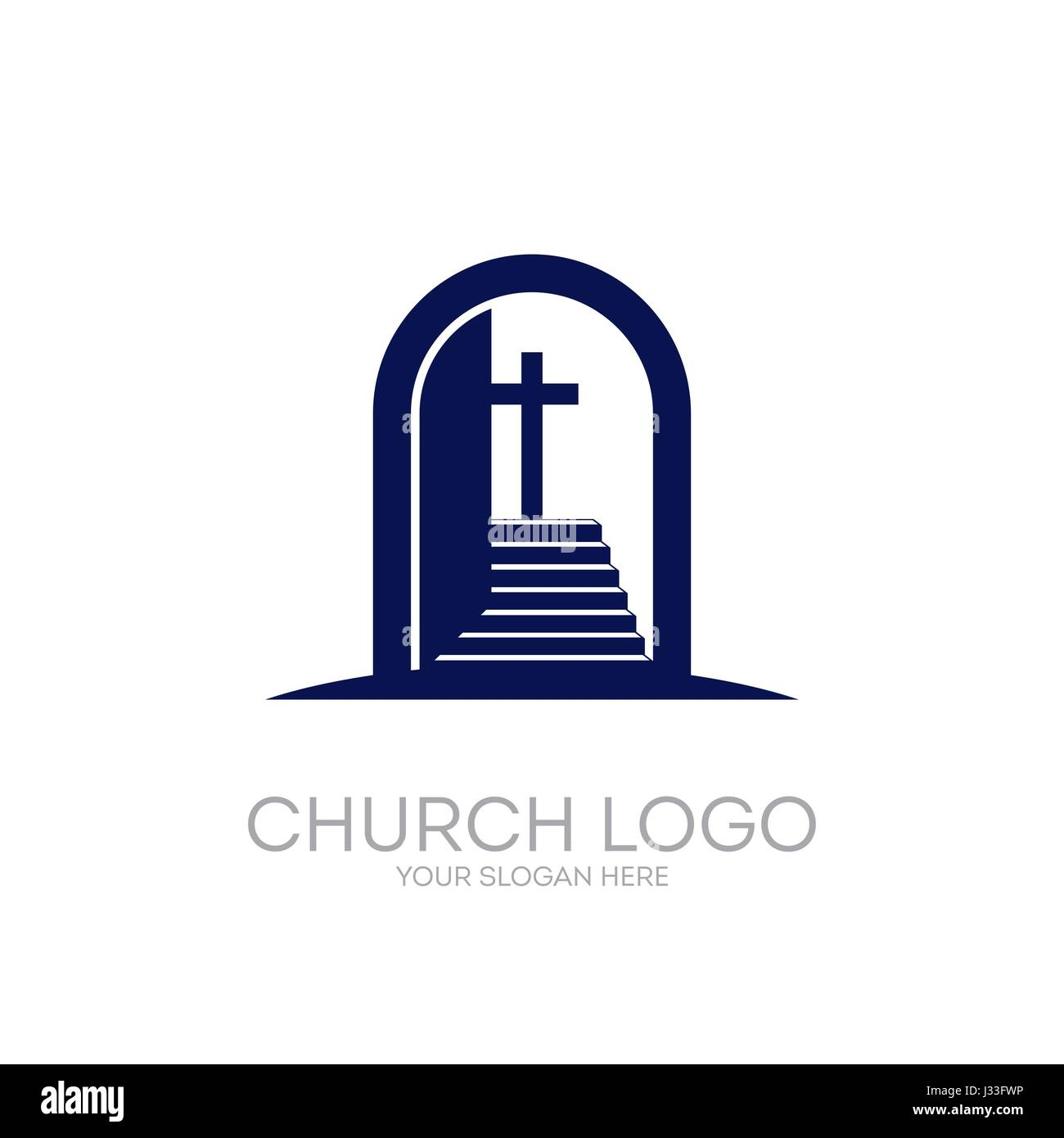 Christian Symbols. Open The Door And The Staircase Leading To The Cross Of  The Lord And Savior Jesus Christ.