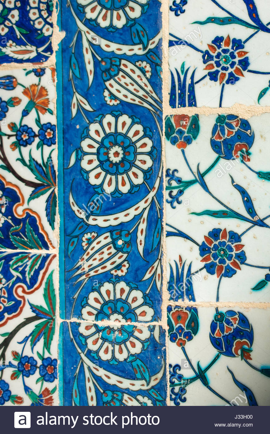 Ancient Ottoman time Handmade Turkish Tiles with floral patterns