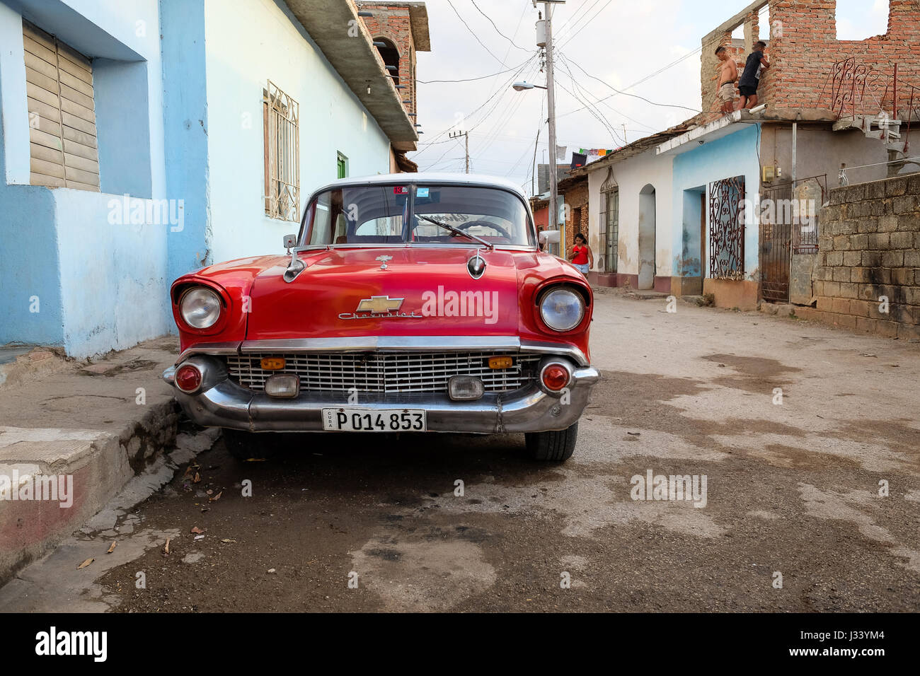 TRINIDAD, CUBA: APRIL 15 2017: American classic car in the street ...