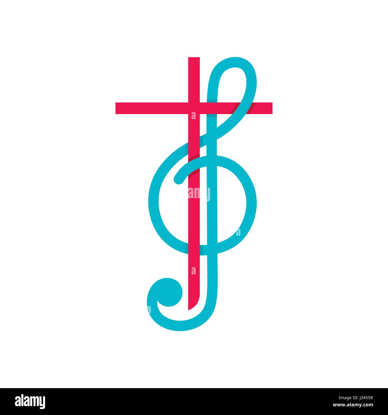 Church logo christian symbols the cross of jesus christ and christian symbols the cross of jesus christ and treble clef as a symbol of praise and worship to god buycottarizona Image collections