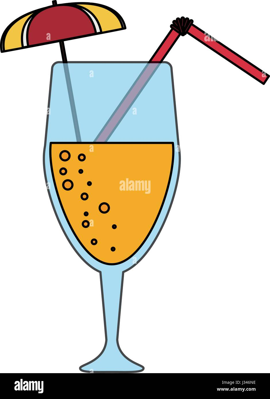 color image cartoon glass cup of cocktail with straw and umbrella