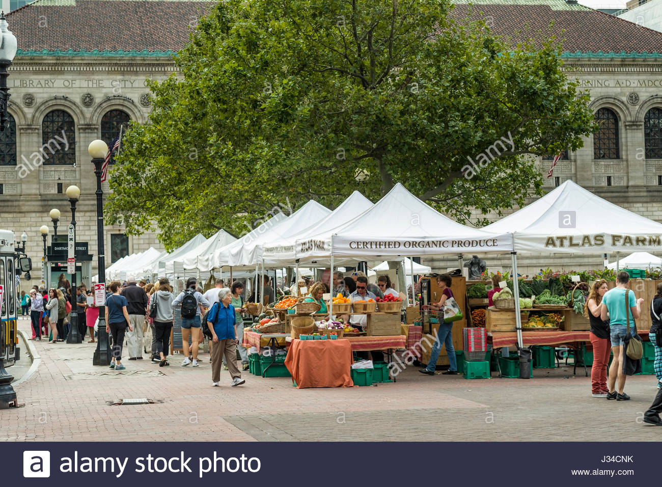 White pop-up tents at farmers market in Copley Square Boston Suffolk County Massachusetts USA & White pop-up tents at farmers market in Copley Square Boston ...