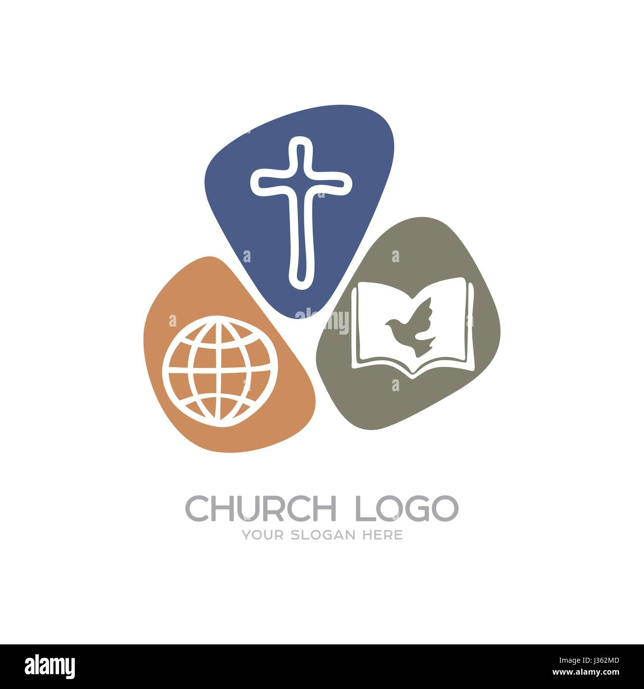 Church logo christian symbols the cross of jesus christ the globe church logo christian symbols the cross of jesus christ the globe and the holy bible hand drawn buycottarizona Image collections