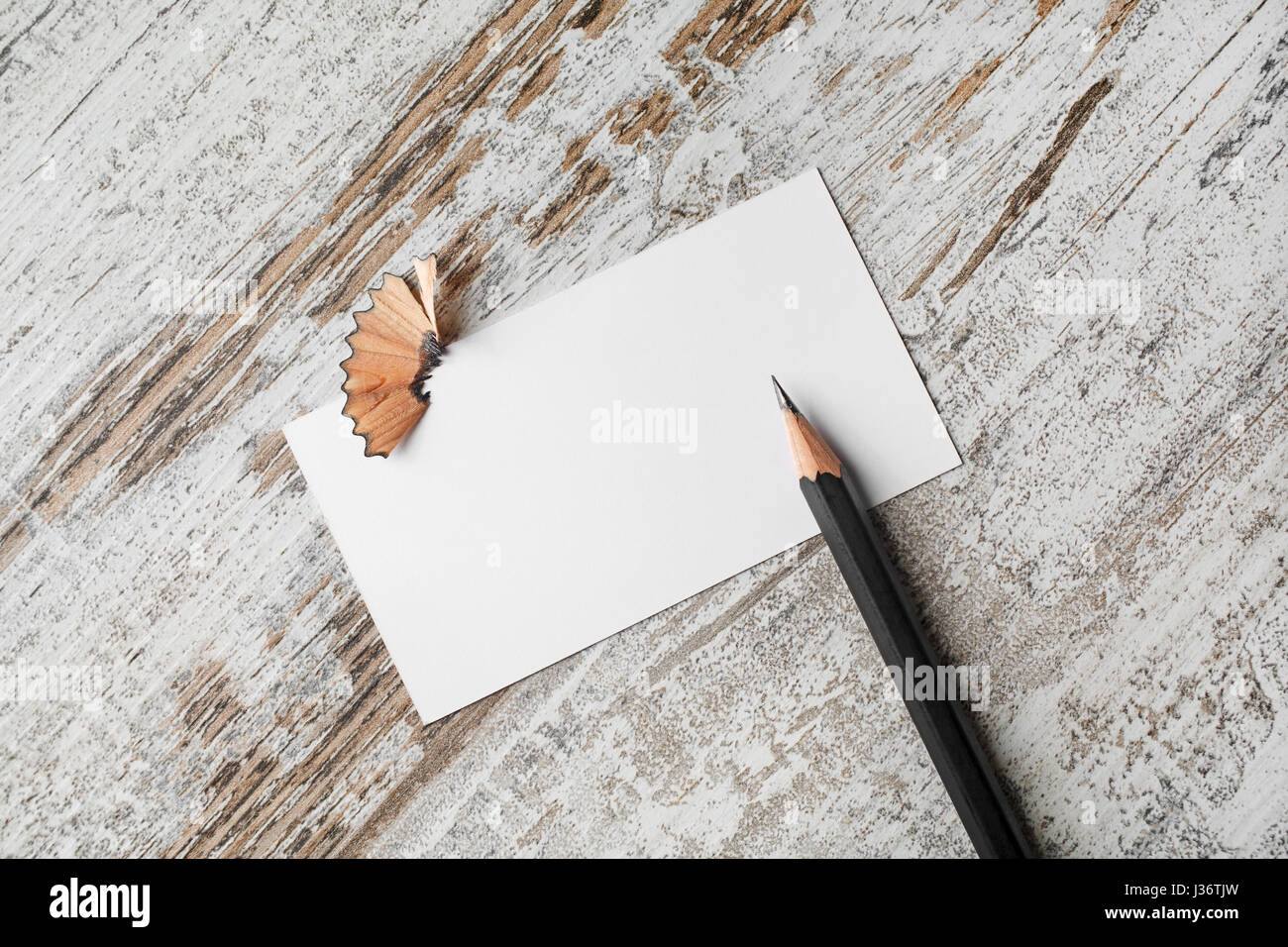Bank business card and pencil on vintage wooden table background ...