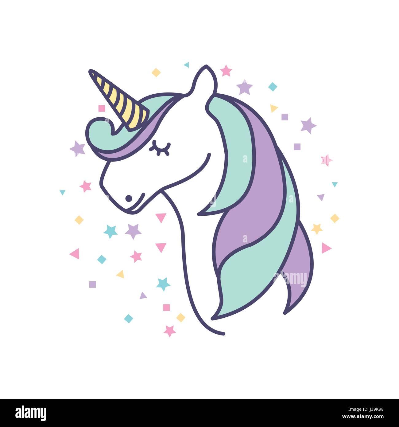 drawing cute unicorn icon stock vector art u0026 illustration vector