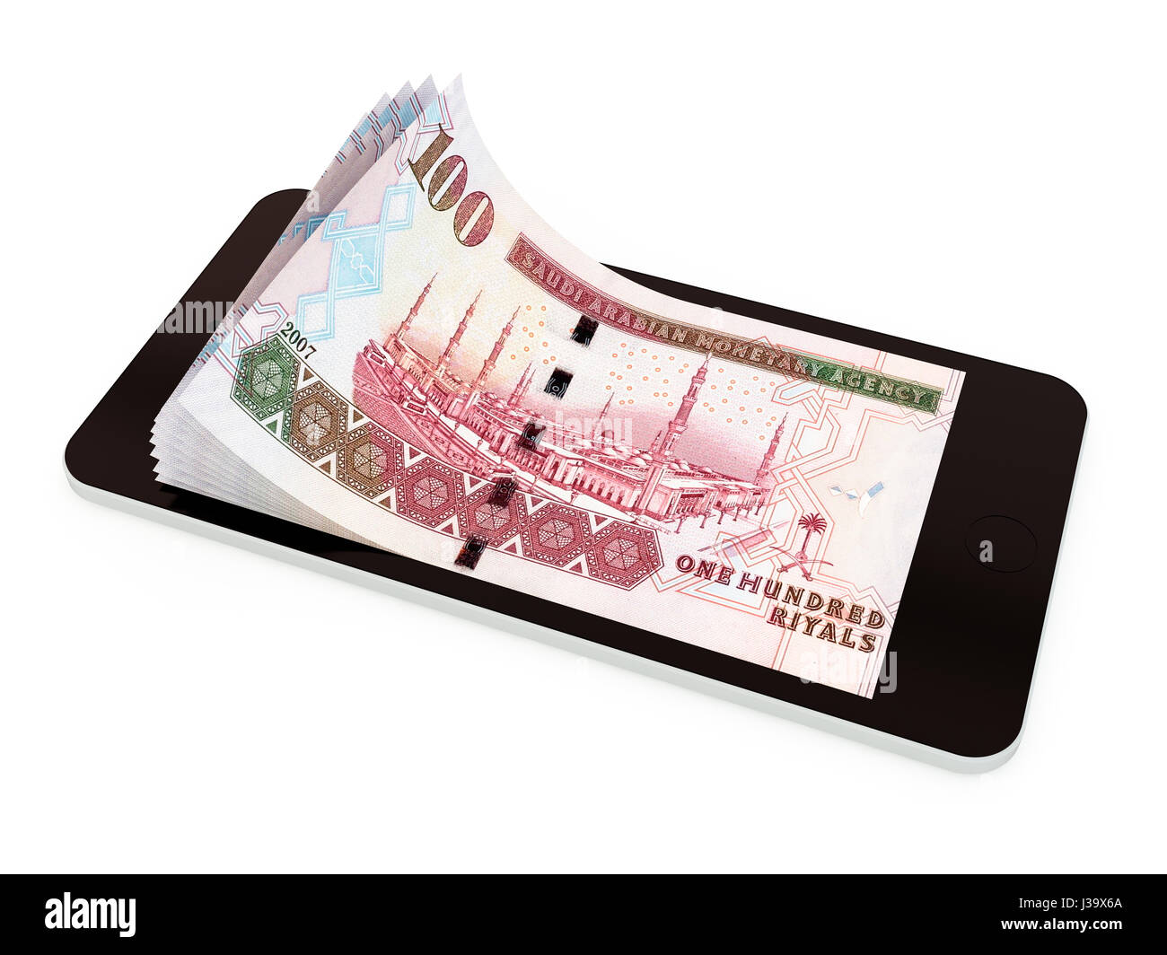 Men holding the word party concept 3d illustration stock photo - Mobile Payment Money Transfer With Smart Phone Saudi Riyal 3d Rendered Illustration