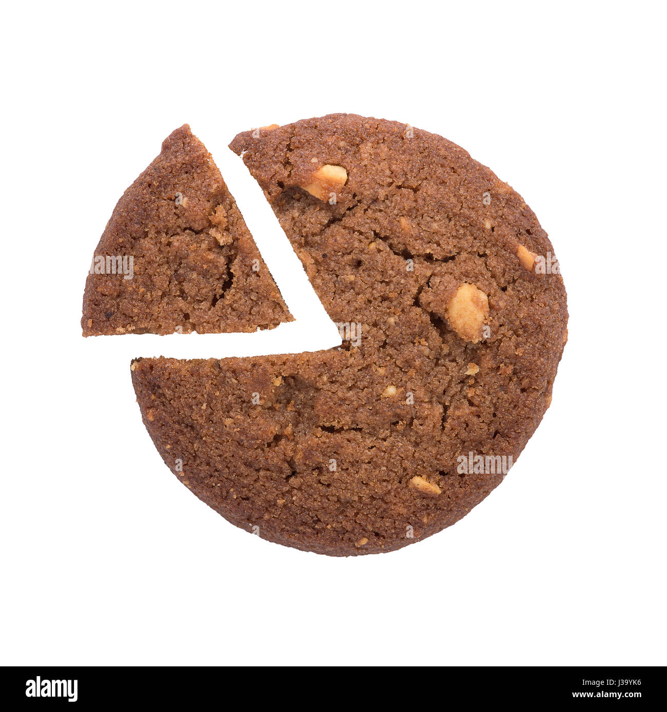 Pie chart cake stock photos pie chart cake stock images alamy pie chart icon or circle diagram made from cookie isolated on white background business nvjuhfo Images