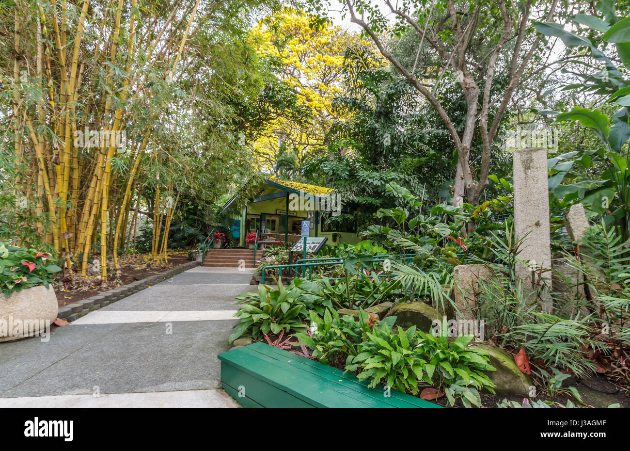 entrance to foster botanical gardens in honolulu hawaii stock