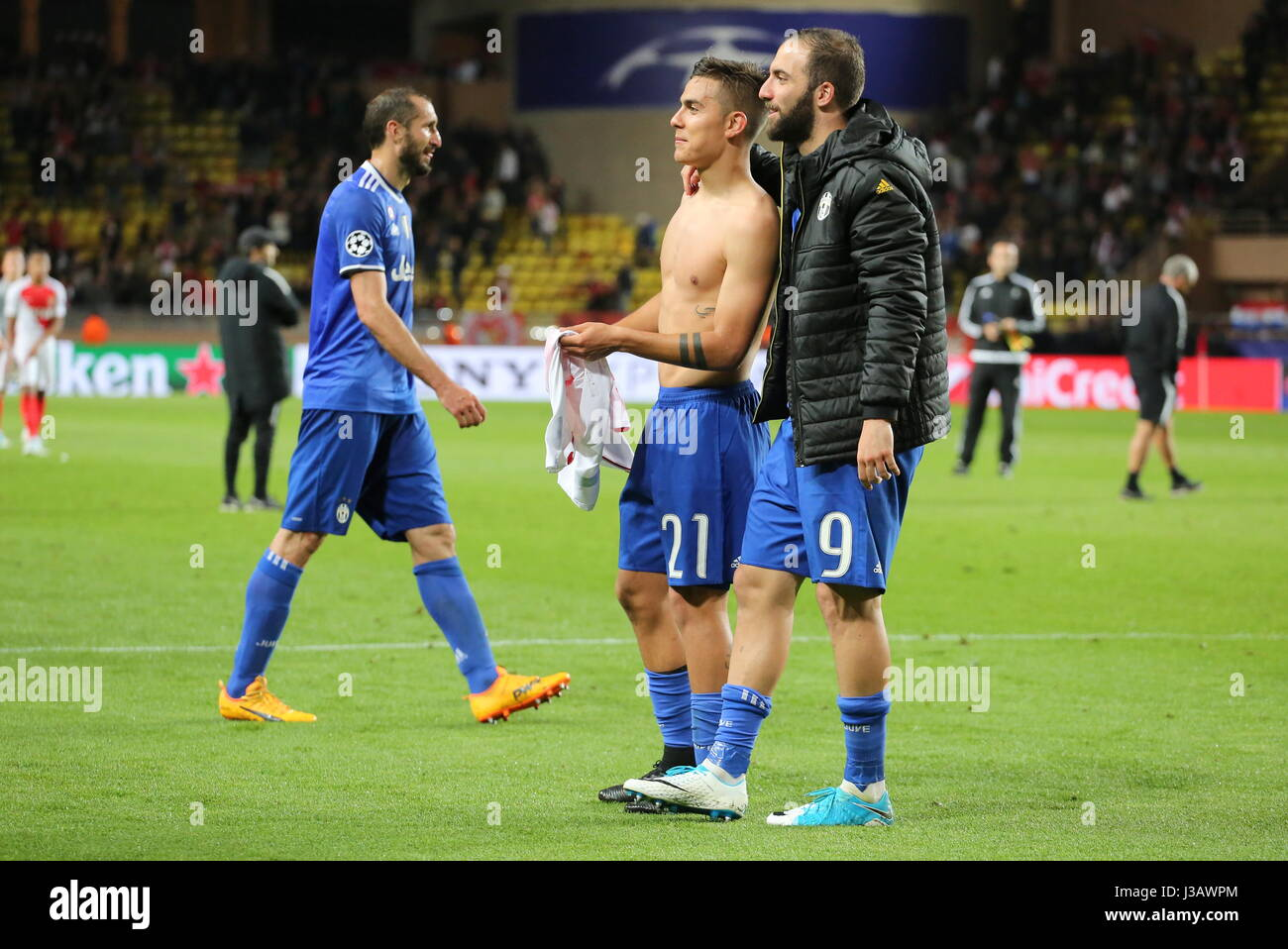 Monaco 03rd May 2017 Paulo Dybala Juventus FC and Gonzalo