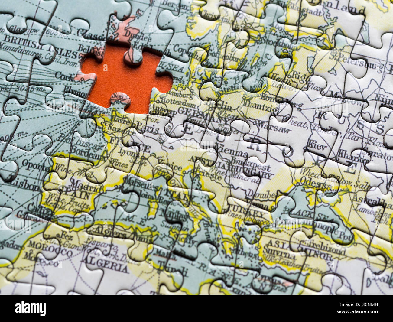 Brexit uk jigsaw piece missing from map of europe stock photo brexit uk jigsaw piece missing from map of europe gumiabroncs Images