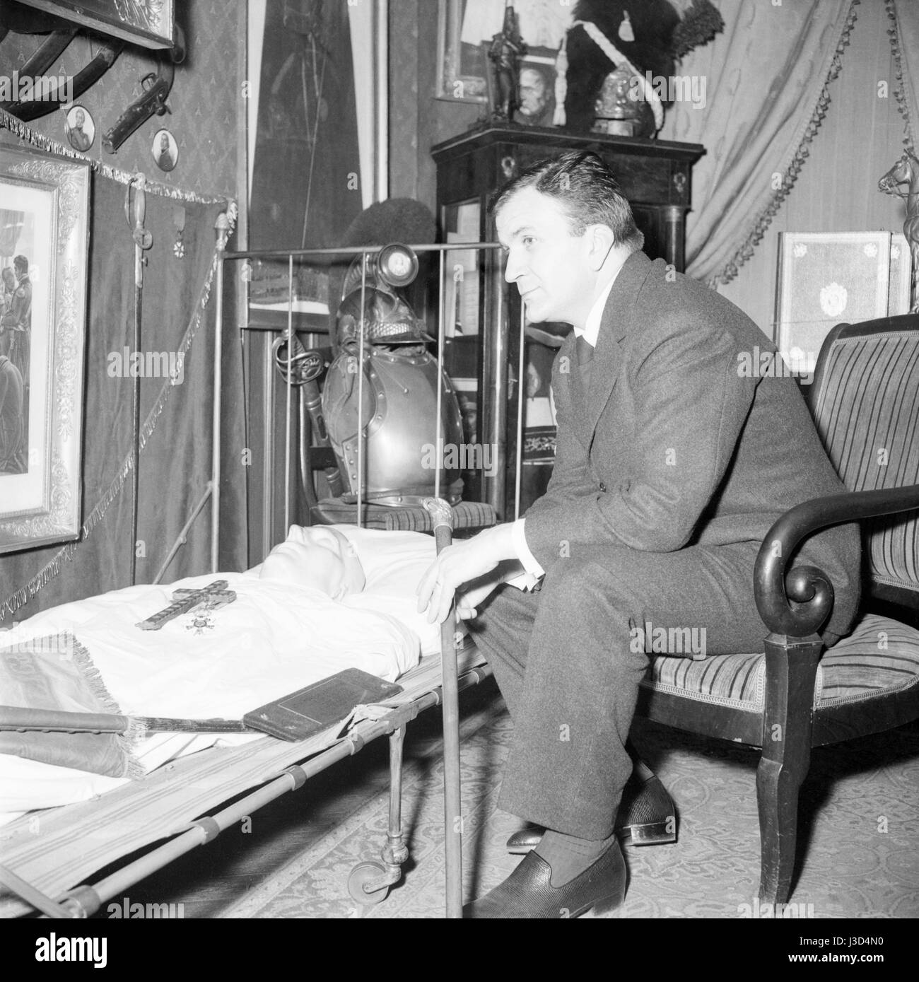 Pierre Mondy French Actor Posing In The Living Room Of The Stock