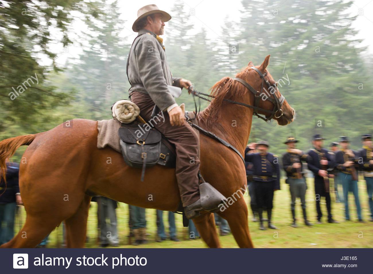 Confederate soldier on horseback at civil war reenactment milo mciver state park estacada