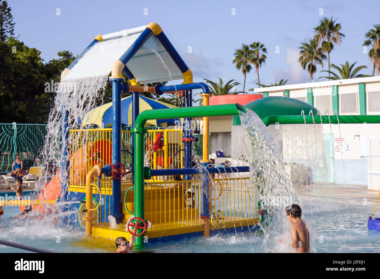 Miami Beach Florida Flamingo Park Swimming Pool Public Boy Boys Child Stock Photo Royalty Free