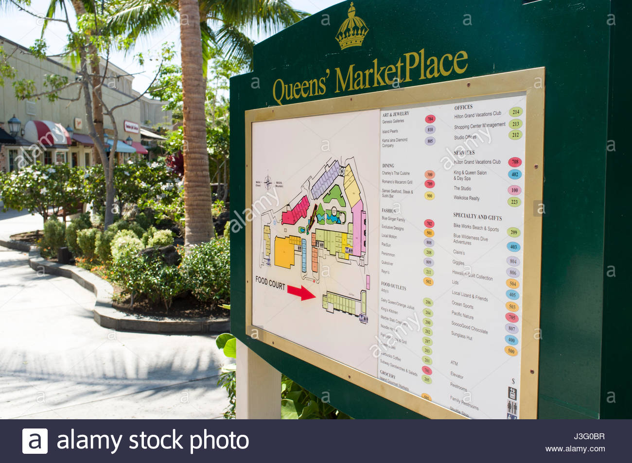 Map of the Queens MarketPlace Waikoloa Beach Resort South