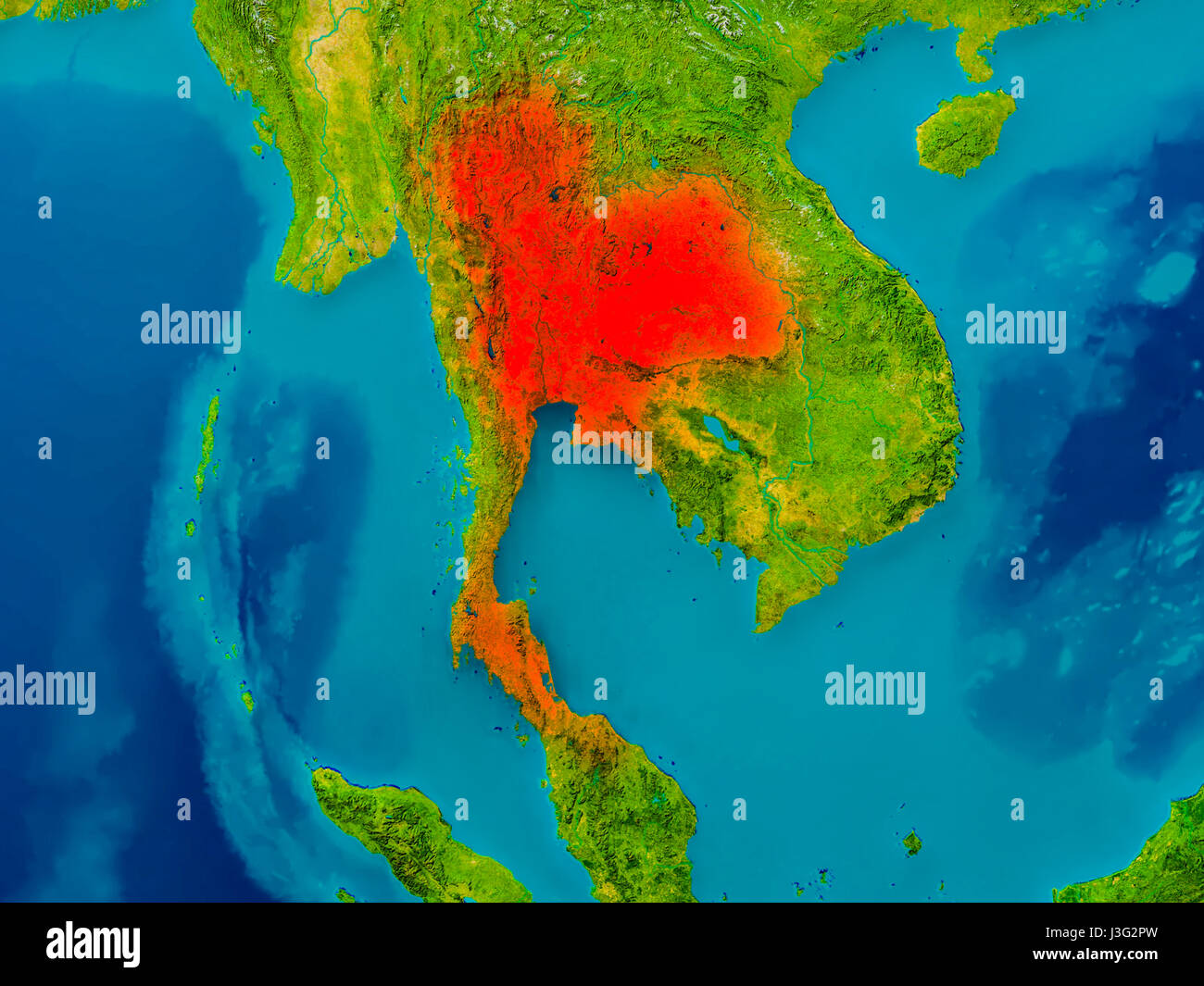 Thailand highlighted in red on physical map 3D illustration Stock