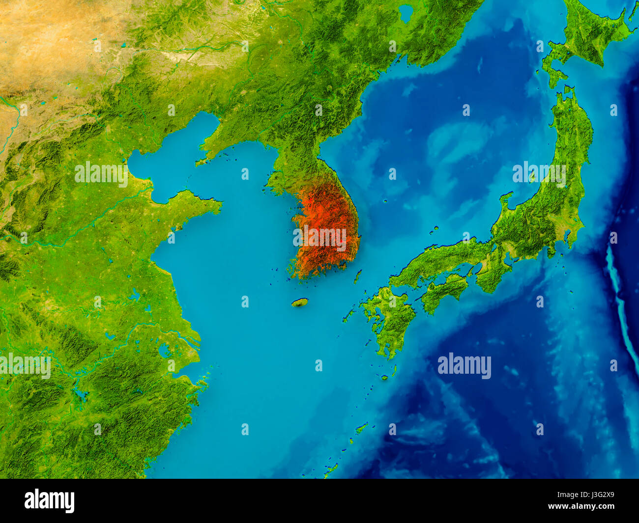 South korea highlighted in red on physical map 3d illustration south korea highlighted in red on physical map 3d illustration elements of this image furnished by nasa gumiabroncs Images