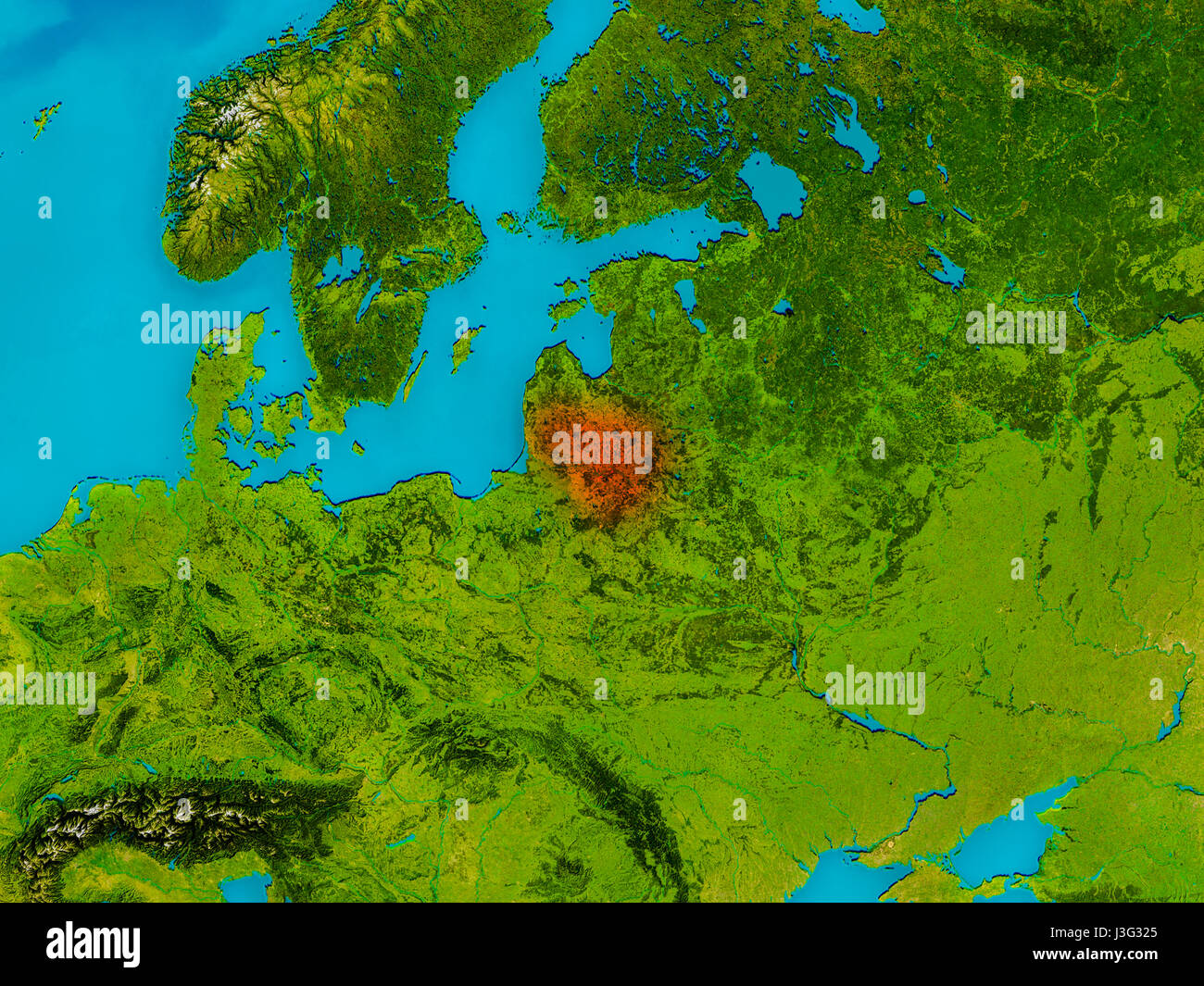 Lithuania Highlighted In Red On Physical Map D Illustration - Lithuania physical map