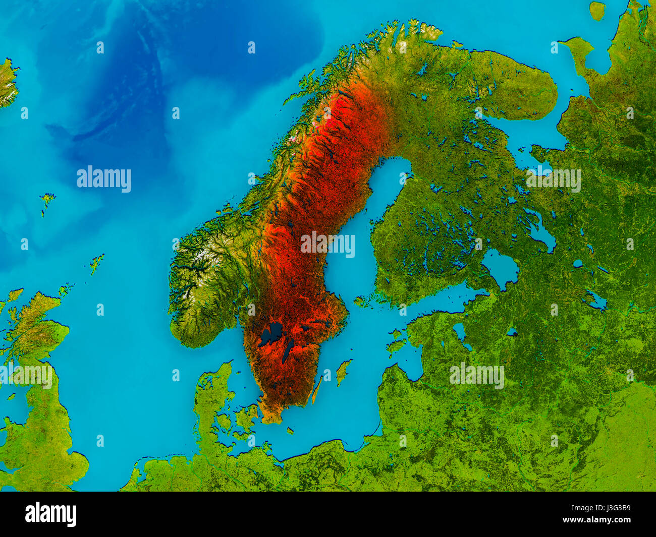 Sweden Highlighted In Red On Physical Map D Illustration - Sweden map 3d