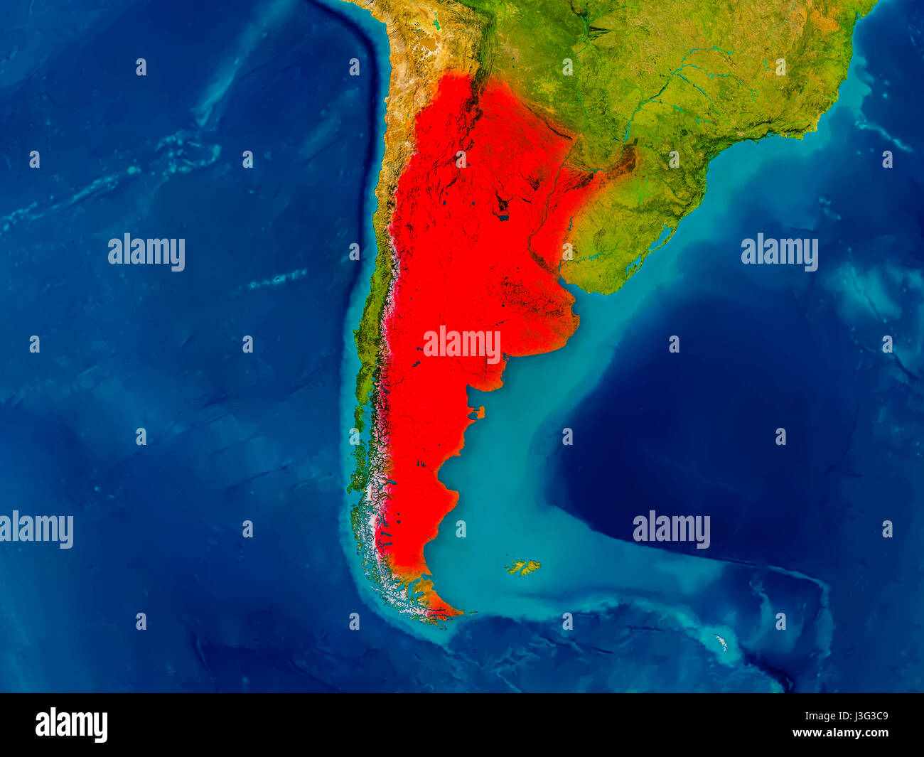 Argentina Highlighted In Red On Physical Map D Illustration - Argentina physical map