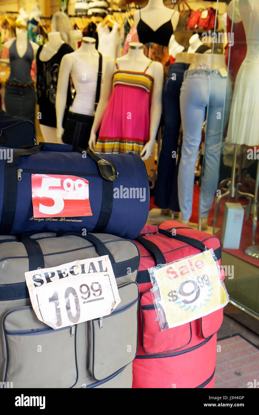 Miami Florida Flagler Street downtown store retail display luggage ...