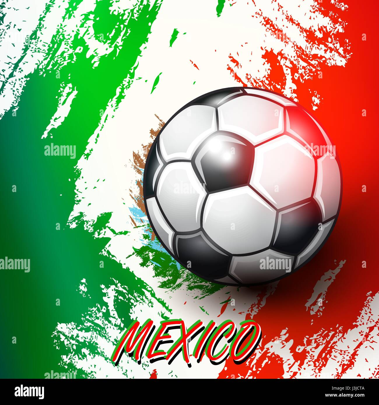 soccer ball on mexican flag background stock vector art