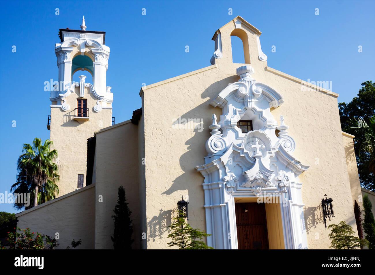 Miami Coral Gables Florida Congregational Church 1925 Spanish Baroque Style Protestant Religion Ornamental Architecture Entrance