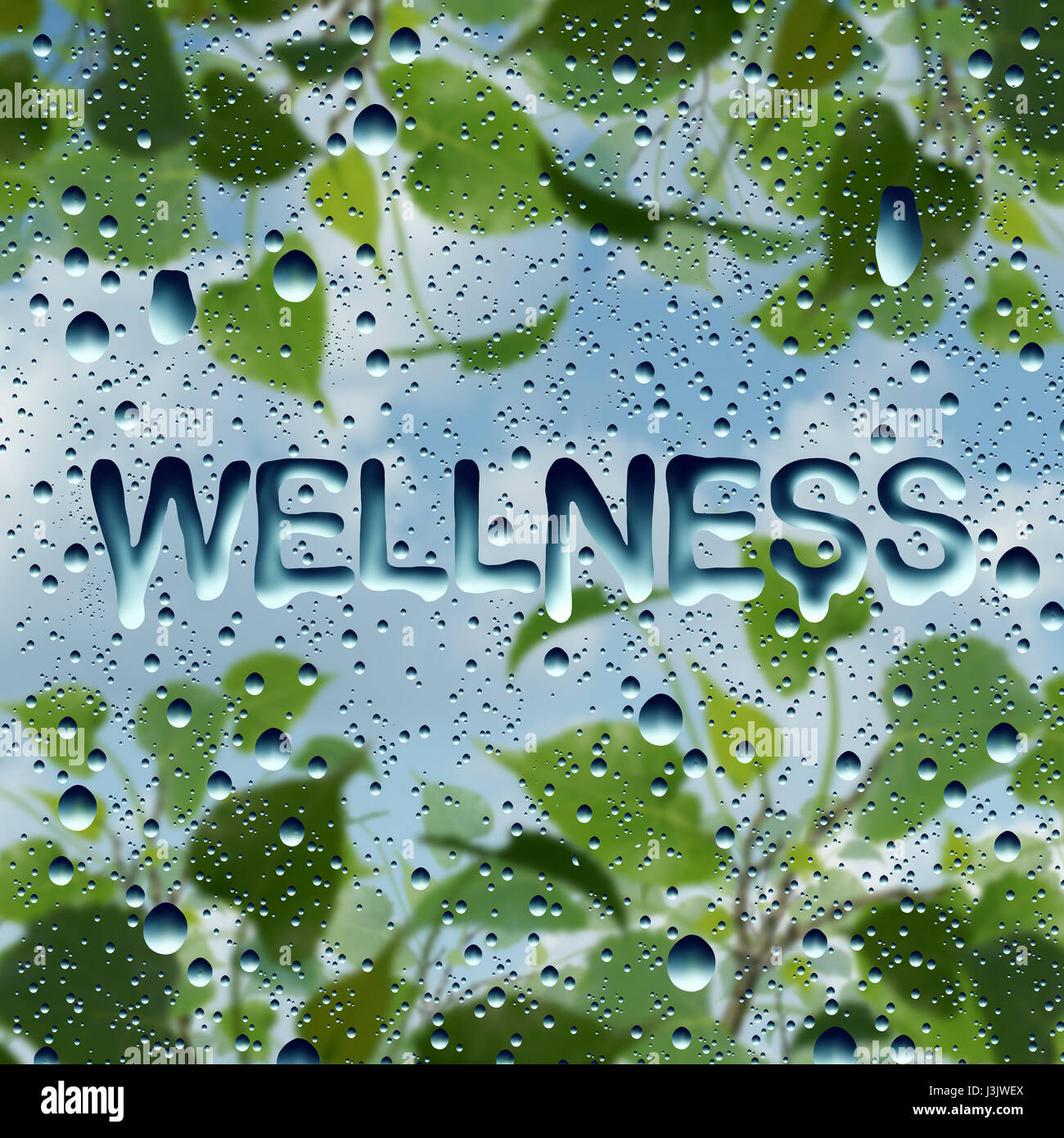 Wellness health symbol and natural healthy lifestyle symbol as wellness health symbol and natural healthy lifestyle symbol as water drops on a window with text biocorpaavc Image collections