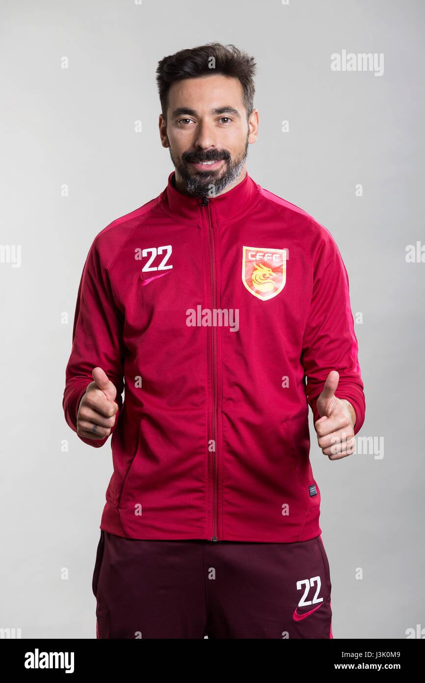 Portrait of Argentine soccer player Ezequiel Lavezzi of Hebei