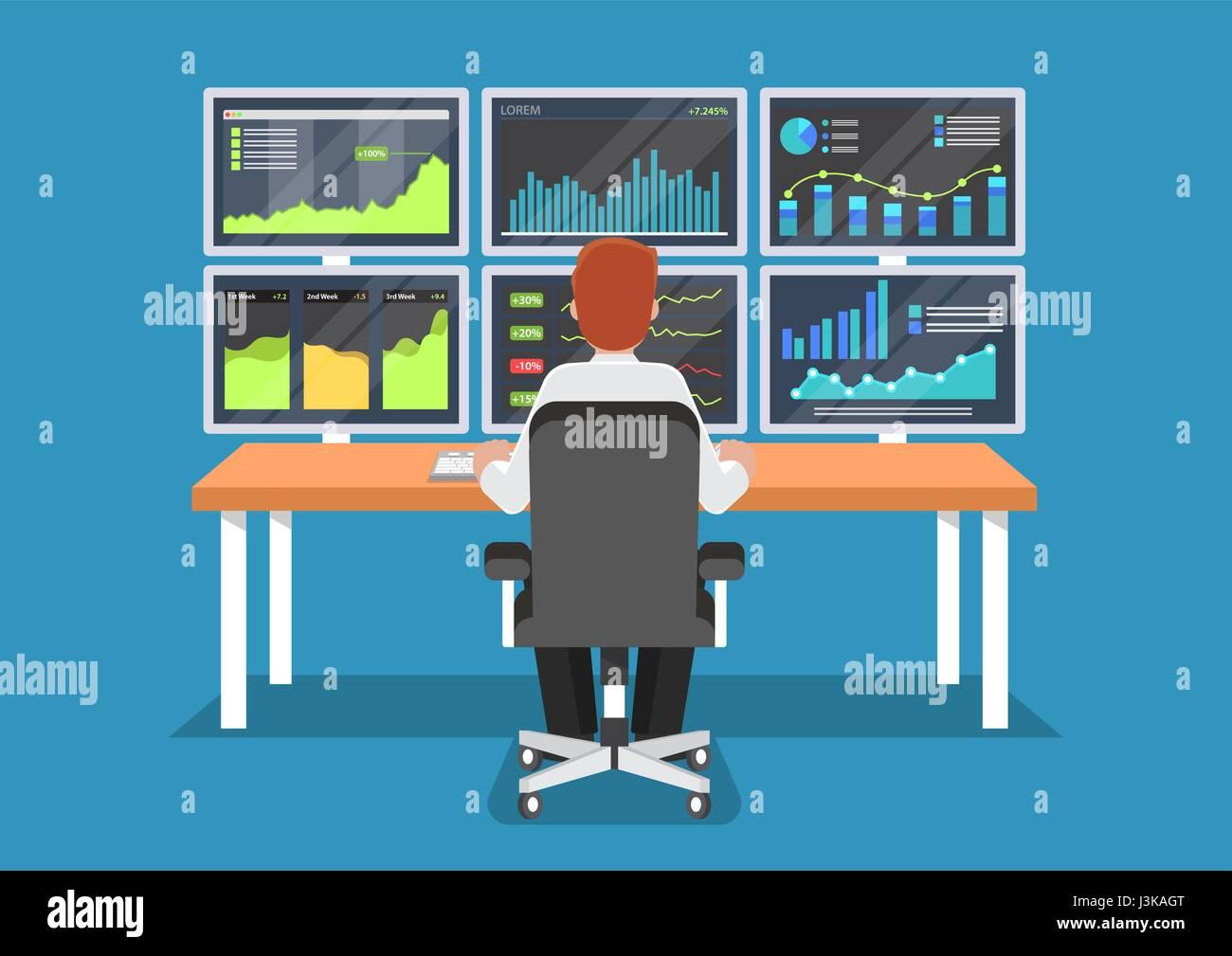 Businessman or stock market trader working at desk with for Schreibtisch 3 monitore