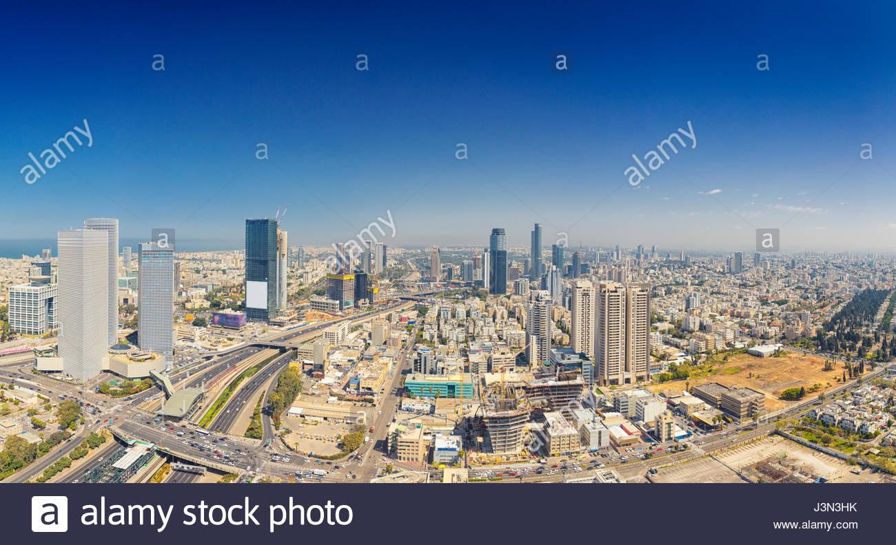 panoramic shot of tel aviv and ramat gan skyline at day tel aviv