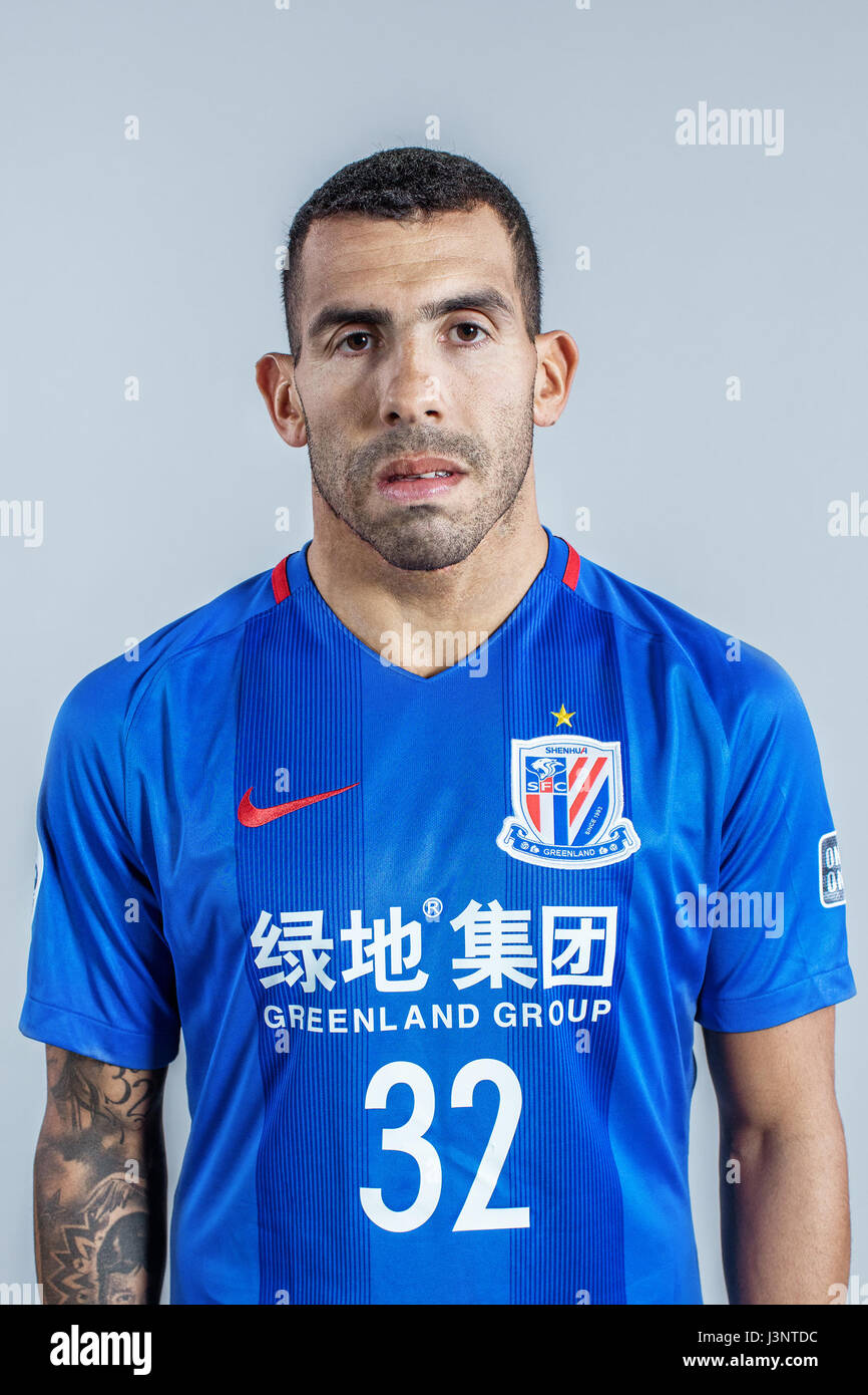 Portrait of Argentine soccer player Carlos Tevez of Shanghai Stock